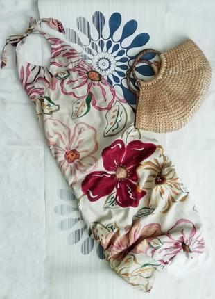 Льняной длинный сарафан в пол цветочный принт довгий лляний сукня довга льняное платье