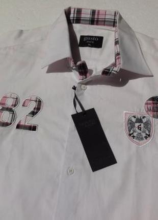 Gustomen. белая рубашка с коротким рукавом. xl размер. турция.