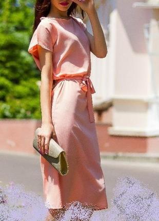 Нежное персиковое платье пудровое воздушное с поясом и комбинацией сводобное
