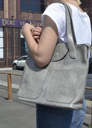Удобная кожаная сумка для документов формата а4