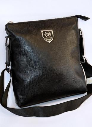 Классическая мужская кожаная сумка через плечо мессенджер планшет черного цвета