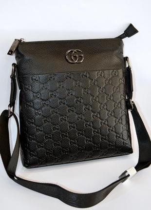 Кожаная мужская сумка планшет через плечо на один отдел