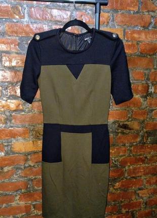 Офисное платье чехол футляр из костюмного трикотажа mango
