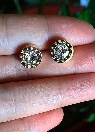 Серьги золото камень гвоздики цирконий