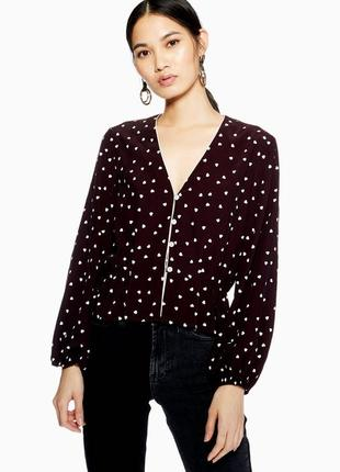 Милая блуза с принтом в 💜💜💜, топ с рюшами