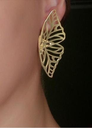 Серьги крылья золото сережки