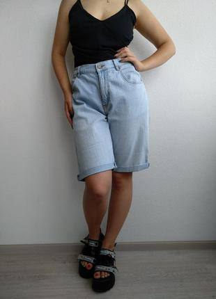 Шорты джинсовые баталы john f. gee высокая посадка голубые удлиненные