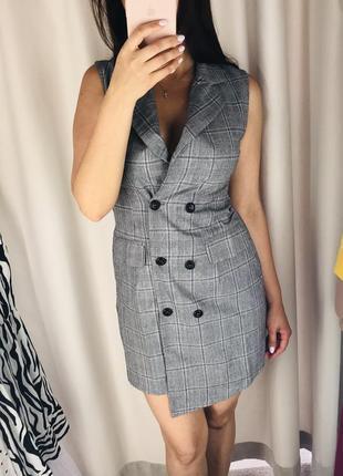 Платье жилет офисное в клетку { zara}5 фото