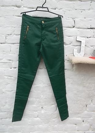 Крутые зеленые джинсы с напылением, под кожу, высокая посадка, размер 29, хс_с, новые