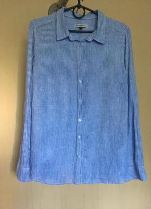 Льняная рубашка в  полоску  hampton republic 27