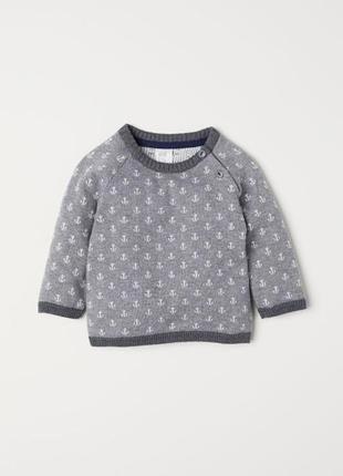 Тёплый свитер с якорями, джемпер, h&m, бирка