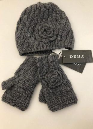 Шапка перчатки комплект deha серый вязаный новый женский
