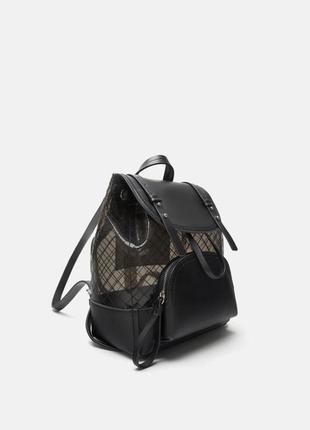 Zara виниловый городской рюкзак черный прозрачный