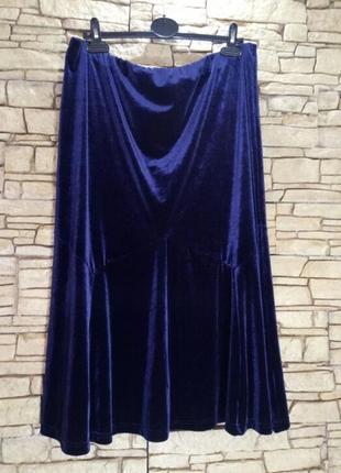 Бархатная,велюровая длинная юбка-годе,батал