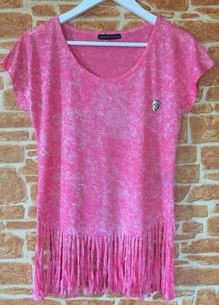 Брендова футболочка з лапшой philip plein рожева з вибіленями/розмір м