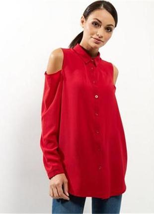 Красная модная рубашка блуза new look c открытыми плечами