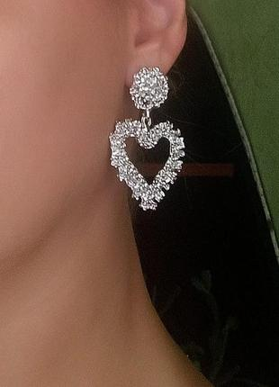 Серьги серебро сережки в стиле zara сердца