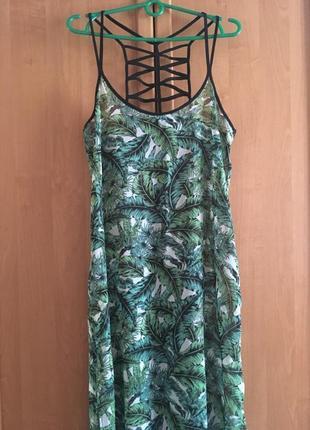 Длинное шифоновое пляжное макси платье в пол