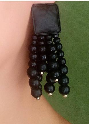 Серьги в стиле zara сережки черные длинные