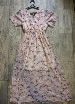 Летнее шифоновое платье в цветочный принт