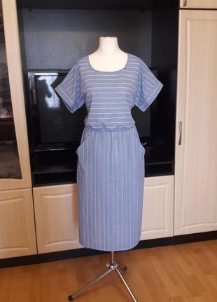 Льняное платье в полоску