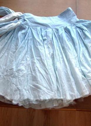 Голубая натуральная пышная юбка с бантом и легким градиентом cinema donna м-s