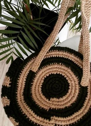 Кругла еко сумка плетена вязана ручної роботи