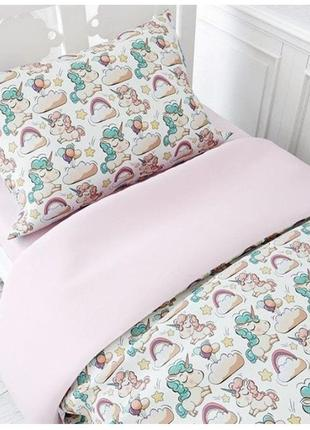 Детское постельное белье в кроватку на резинке украина тет-а-тет единорог розовый