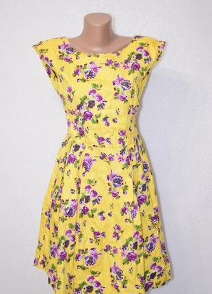 Солнечное коттоновое платье в цветах