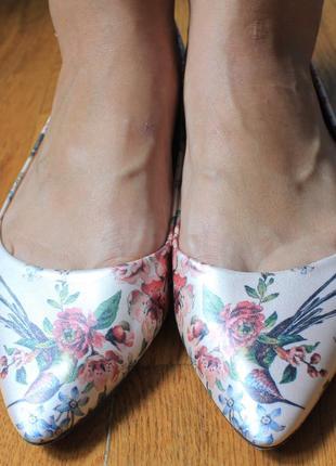 Туфли острый нос  балетки лодочки  с принтом колибри от oasis 41р5 фото