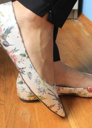 Туфли острый нос  балетки лодочки  с принтом колибри от oasis 41р6 фото