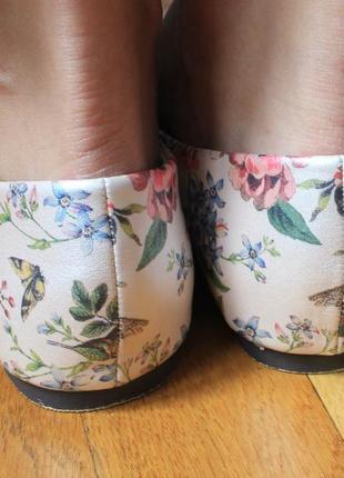 Туфли острый нос  балетки лодочки  с принтом колибри от oasis 41р7 фото