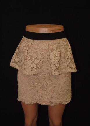 Гипюровая юбка с баской