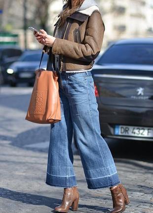 Крутые джинсы кюлоты, укороченые с бахромой, высокая талия l--denim co--10\12h