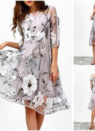 Нежное дизайнерское миди платье с цветочным принтом