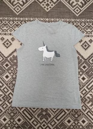 Прикольная футболка с принтом единорог, р. l-xl