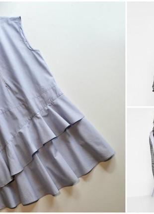 Легкое летнее свободное платье с воланами хлопок zara