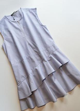 Легкое летнее свободное платье с воланами хлопок zara2 фото