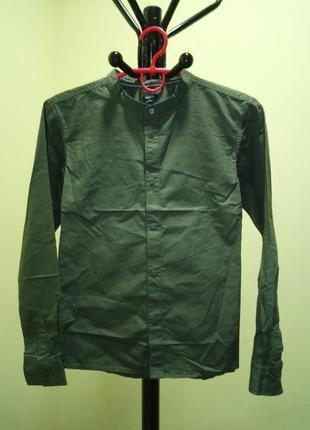 Хлопковая рубашка хаки для мальчика kiabi