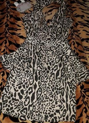 🥀леопардовое эффектное платье с баской от asos!