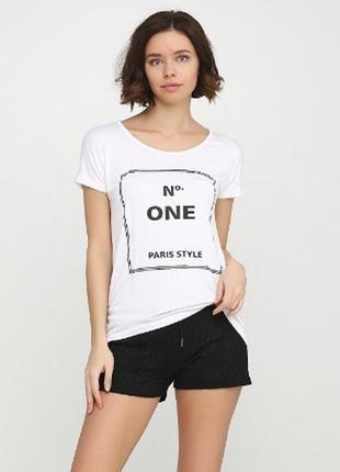 Лёгкая футболка р. 44 46 l esmara германия белая с стильным принтом