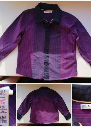 Фиолетовая рубашка для мальчика 2-3 года