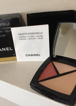 Chanel palette essentielle набор 3 в 1 корректор – хайлайтер – румяна