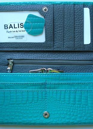 Большой кожаный лаковый кошелек бирюза, 100% натуральная кожа, есть доставка бесплатно4 фото