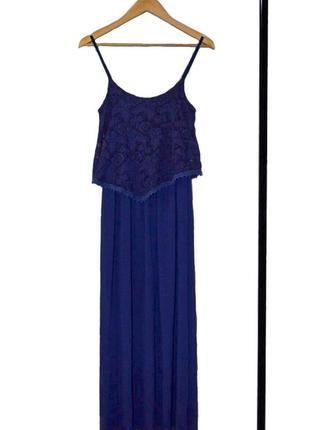 Длинный синий сарафан-платье с кружевом на бретелях италия