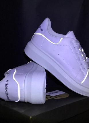 Белые кеды в стиле alexander mcqueen,белые летние кроссовки на платформе!слипоны