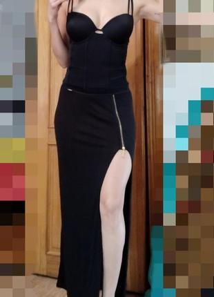 Трикотажная юбка в пол