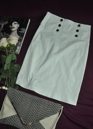 2-012 обалденная юбка карандаш с завышенной талией молочного цвета