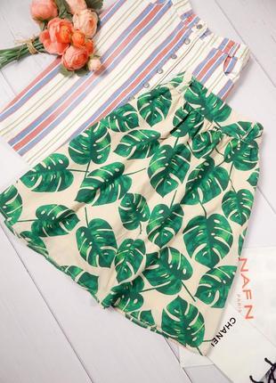 Коттоновая юбка в складку в принт листья