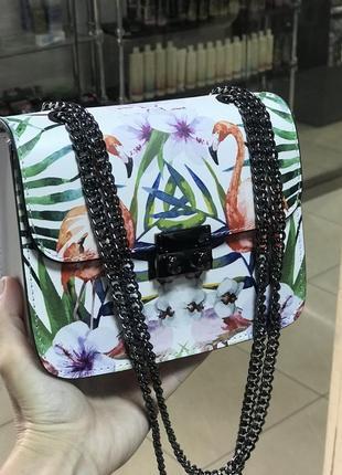 Кожаная сумка сумка кожаная на цепочке через плечо кроссбоди